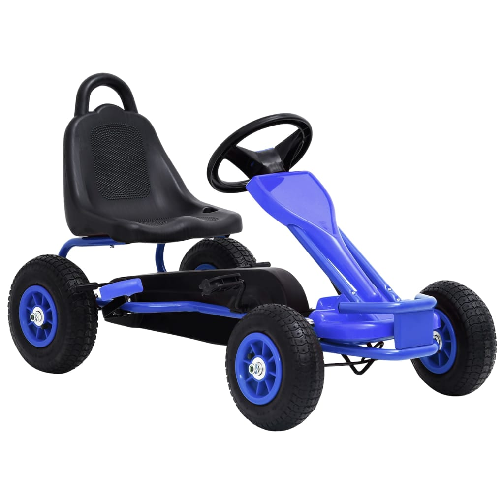 vidaXL Mașinuță kart cu pedale și roți pneumatice, albastru poza 2021 vidaXL