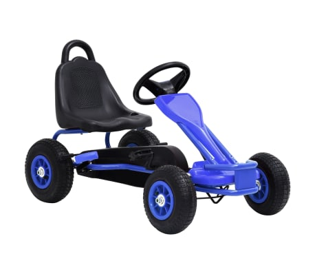 vidaXL Mașinuță kart cu pedale și roți pneumatice, albastru[1/7]