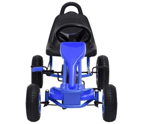 vidaXL Mașinuță kart cu pedale și roți pneumatice, albastru[3/7]