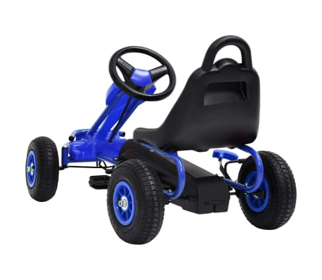 vidaXL Mașinuță kart cu pedale și roți pneumatice, albastru[4/7]