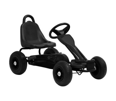 vidaXL Mașinuță kart cu pedale și roți pneumatice, negru[1/7]