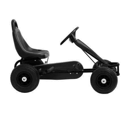 vidaXL Mașinuță kart cu pedale și roți pneumatice, negru[2/7]