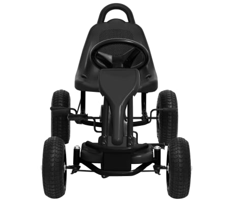 vidaXL Mașinuță kart cu pedale și roți pneumatice, negru[3/7]