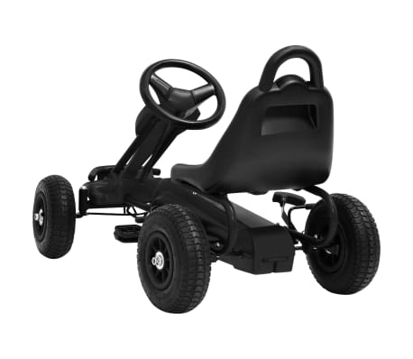 vidaXL Mașinuță kart cu pedale și roți pneumatice, negru[4/7]
