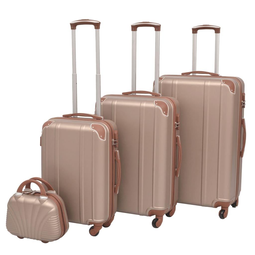 Čtyřdílná sada skořepinových kufrů na kolečkách, champagne