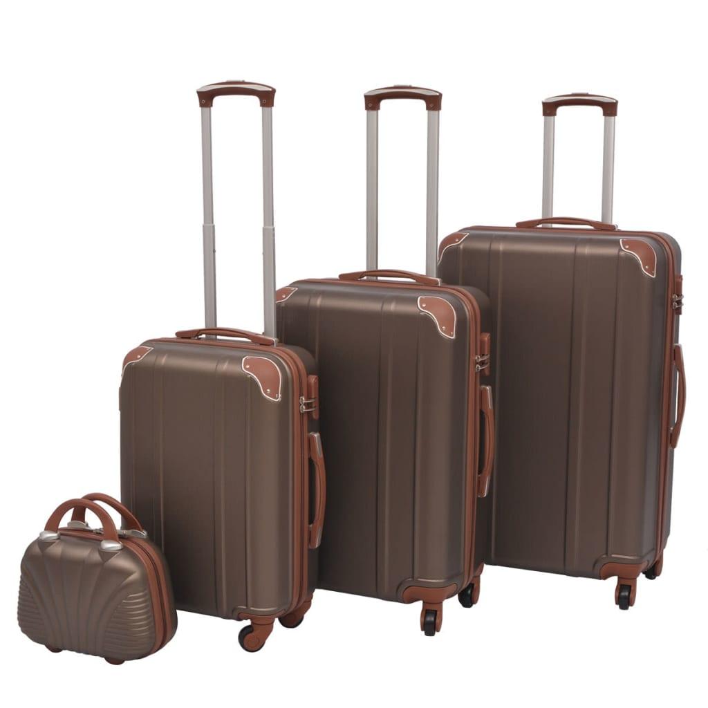 Čtyřdílná sada skořepinových kufrů na kolečkách, kávová