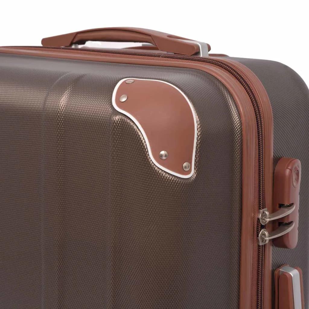 Neljaosaline kõvakattega kohvrite komplekt kohvipruun