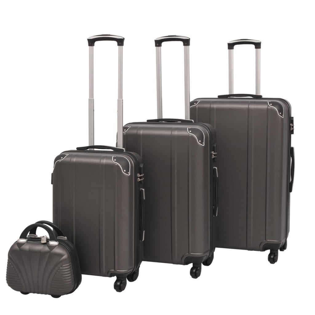 Čtyřdílná sada skořepinových kufrů na kolečkách, antracitová