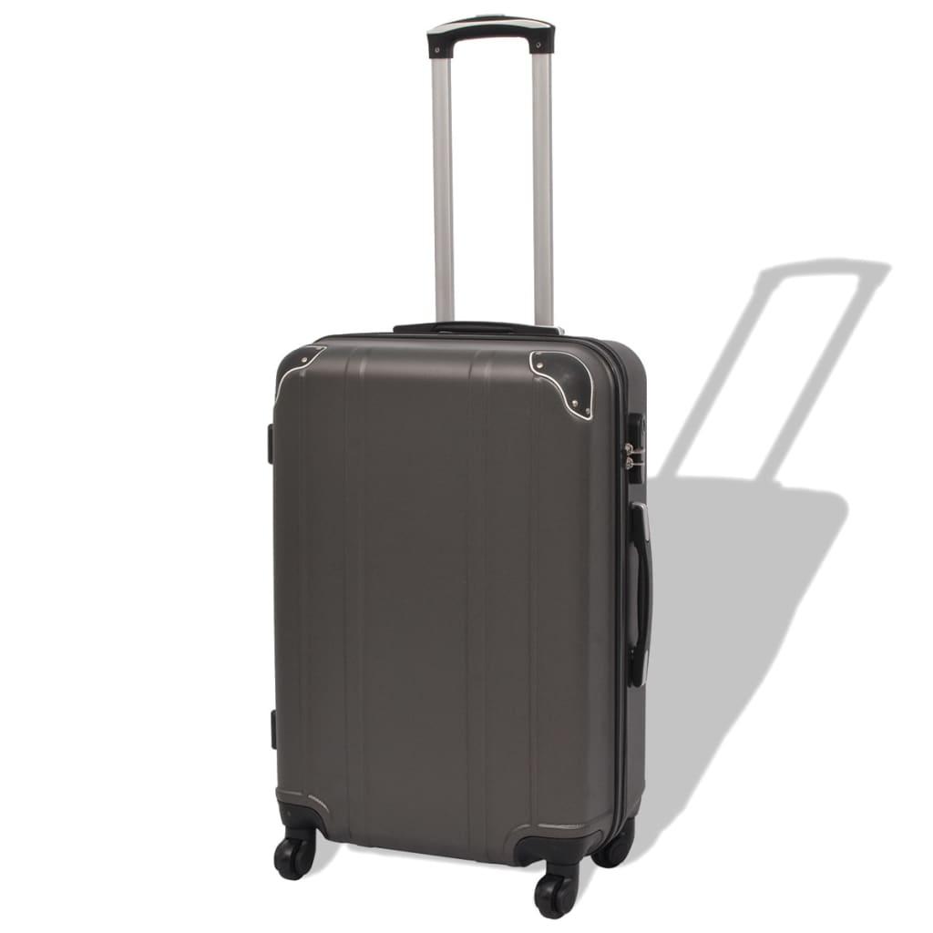 Neljaosaline kõvakattega kohvrite komplekt antratsiithall