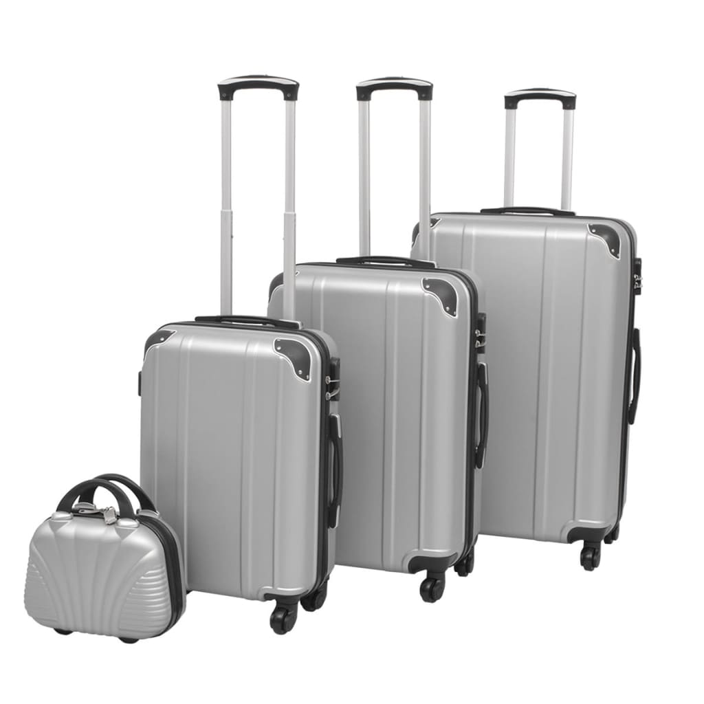 Čtyřdílná sada skořepinových kufrů na kolečkách, stříbrná