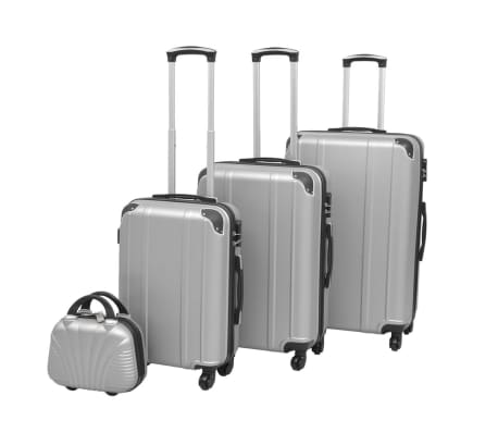 vidaXL 4 Piece Hardcase Trolley Set Silver