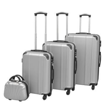 vidaXL Juego de maletas rígidas cuatro unidades plata[1/7]