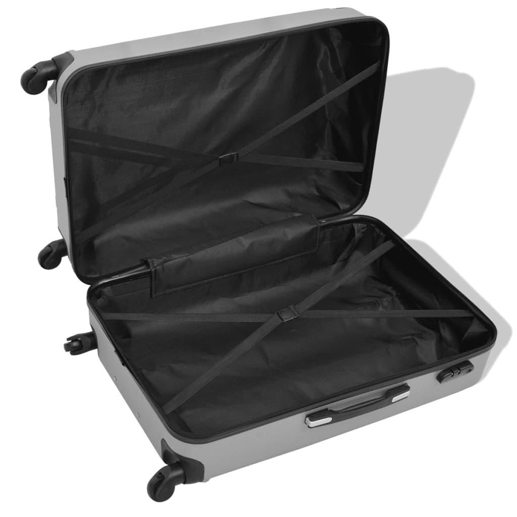 Neljaosaline kõvakattega kohvrite komplekt hõbedane