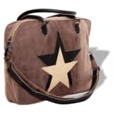 vidaXL Hand Bag Canvas Real Leather with Star Brown