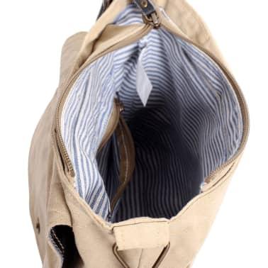 vidaXL Krepšys su ilgu diržu, drobė ir tikra oda, smėlio spalva[5/5]