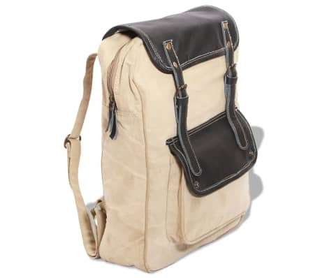 vidaXL Backpack Canvas and Real Leather Beige