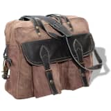 vidaXL Hand Bag Canvas and Real Leather Brown