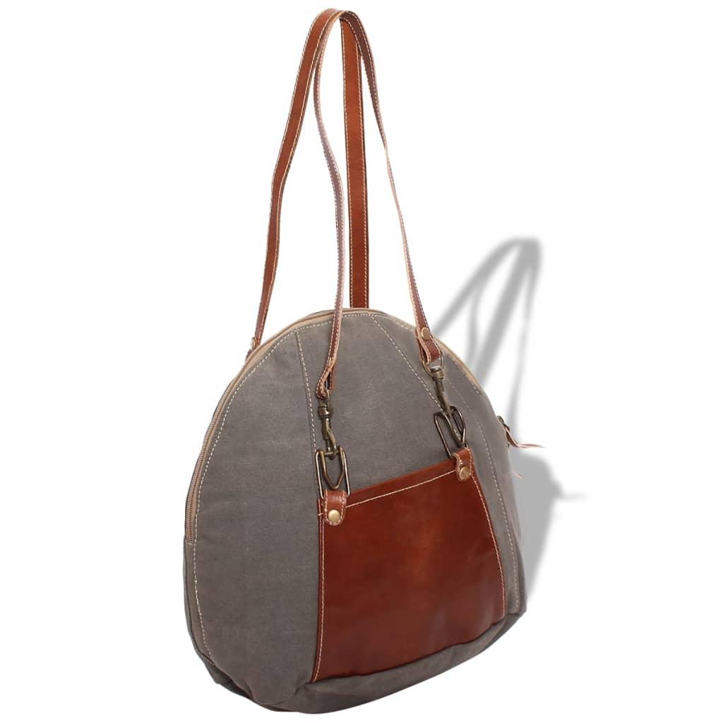 999131517 Handtasche Canvas und Echtleder Grau