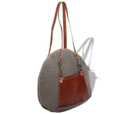 vidaXL Hand Bag Canvas and Real Leather Grey