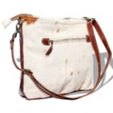 vidaXL Hand Bag Canvas and Real Goat Hide