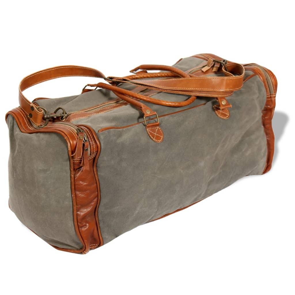 vidaXL Geantă de călătorii din pânză și piele naturală, gri deschis vidaxl.ro