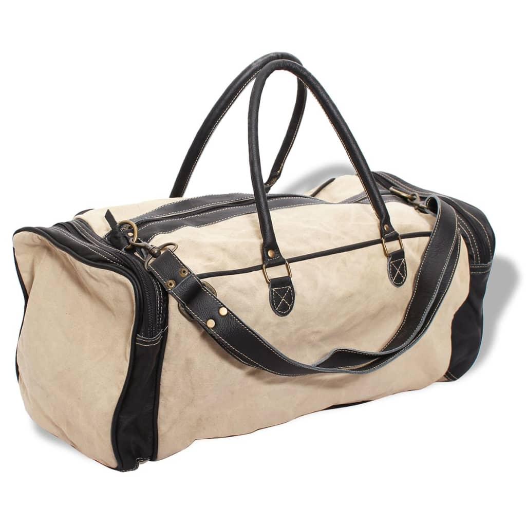 Víkendová taška plátno a pravá kůže béžová