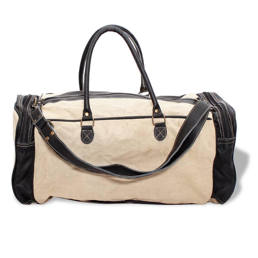 99131524 Weekender Tasche Canvas und Echtleder Beige