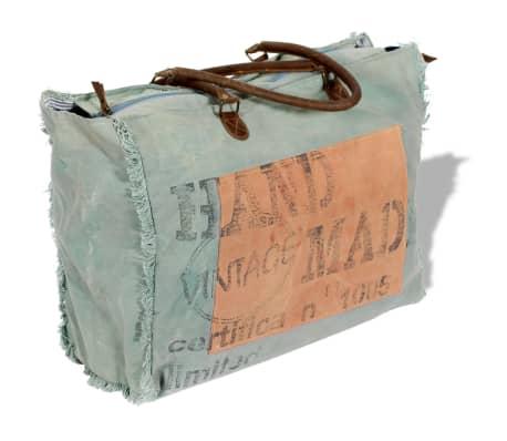 567cfe44c0e vidaXL Strandtas canvas en echt leder blauw en oranje online kopen ...