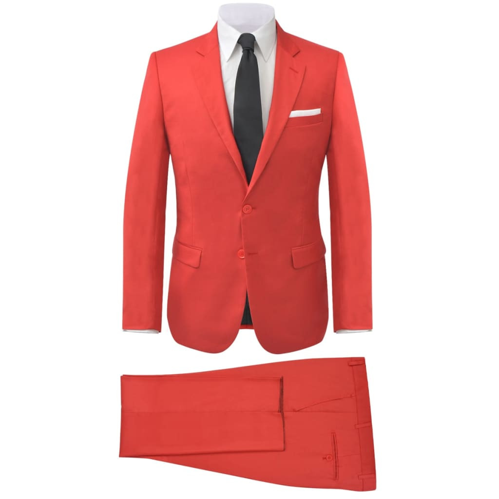 vidaXL Costum bărbătesc, mărime 48, roșu, 2 piese poza 2021 vidaXL
