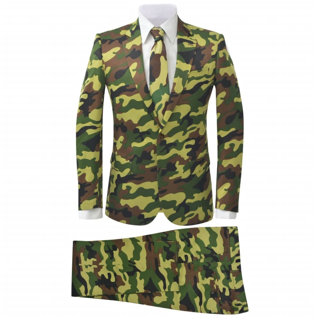 vidaXL Costum bărbați cu cravată, model camuflaj, mărime 48, 2 piese vidaxl.ro