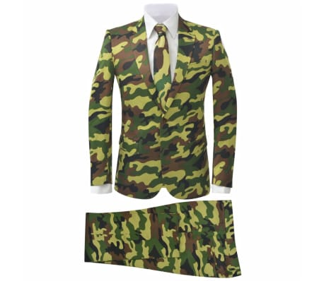 vidaXL Men's Two Piece Suit with Tie Camouflage Print Size 50
