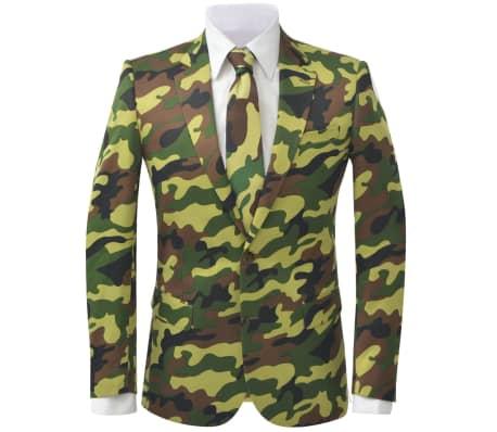vidaXL 2-tlg. Herren-Anzug mit Krawatte Camouflage-Muster Größe 50[2/9]