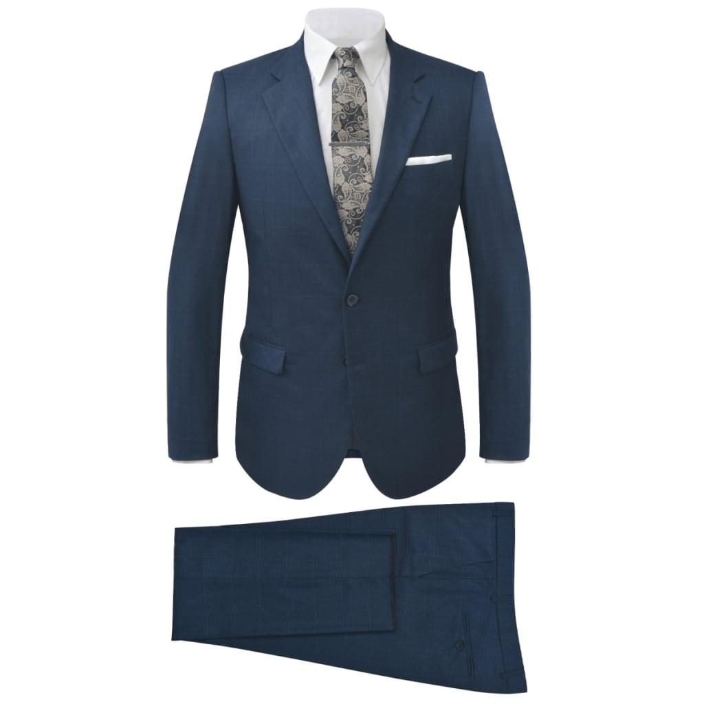 vidaXL Costum bărbătesc în carouri, mărime 46, albastru, 2 piese poza 2021 vidaXL