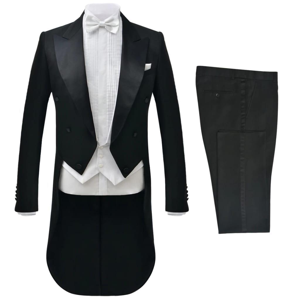 vidaXL Costum bărbătesc de seară frac, 2 piese, mărimea 56, negru imagine vidaxl.ro