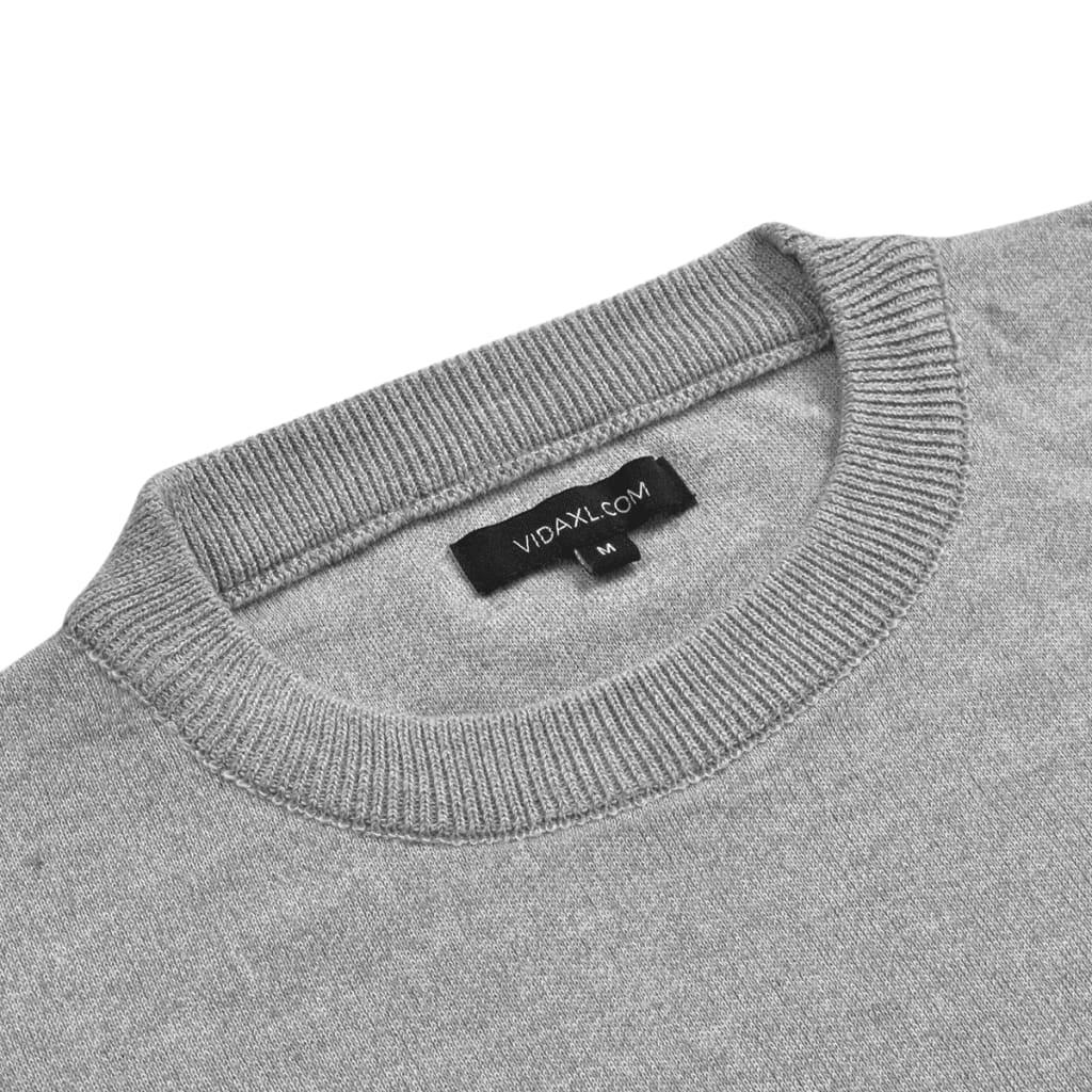 vidaXL Pánský svetr kulatý výstřih šedá vel. M
