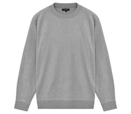 vidaXL Men's Pullover Sweater Round Neck Grey L[1/5]