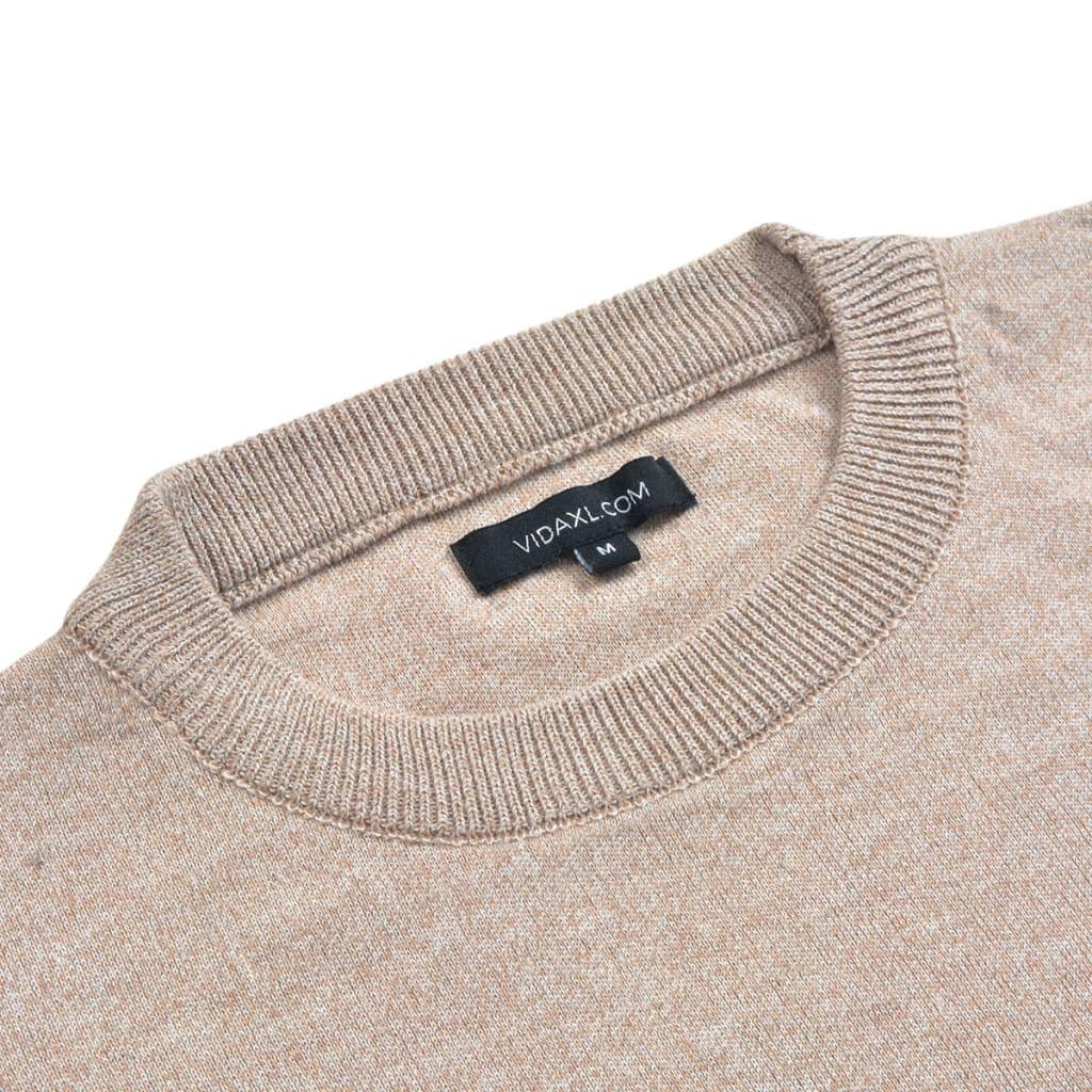 vidaXL Pánský svetr s kulatým výstřihem béžový vel. M