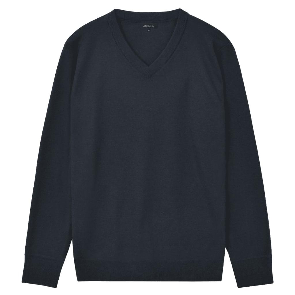 vidaXL Pánský svetr s výstřihem do V námořnická modrá vel. XL