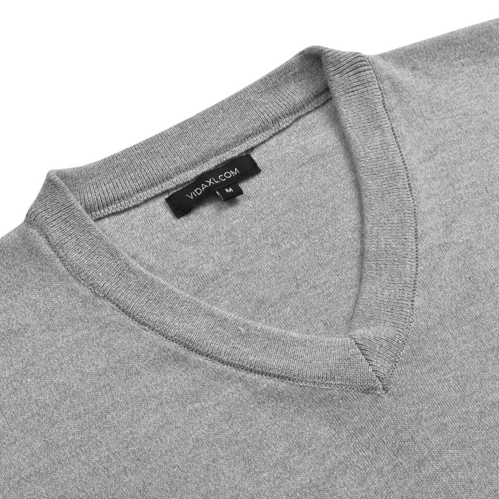 vidaXL Pánský svetr s výstřihem do V šedý vel. M