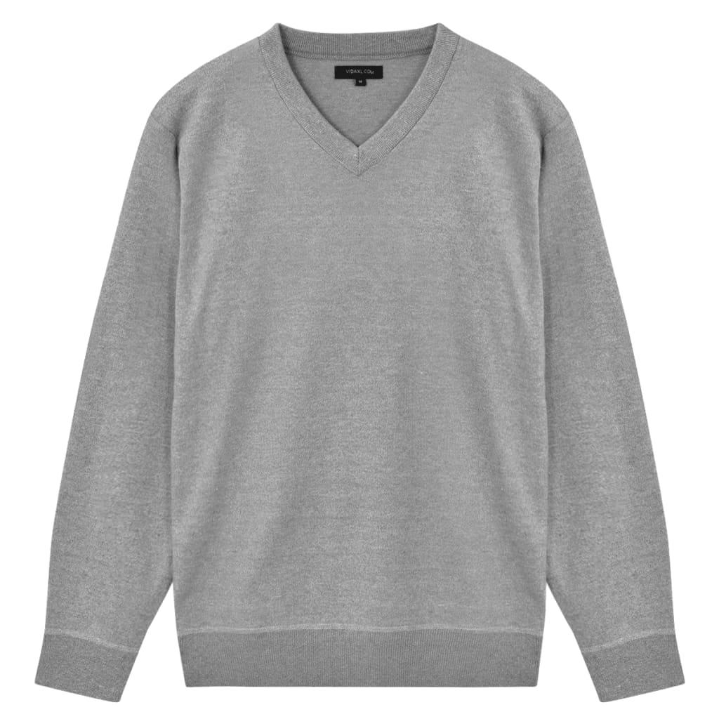 vidaXL Pánský svetr s výstřihem do V šedý vel. XXL