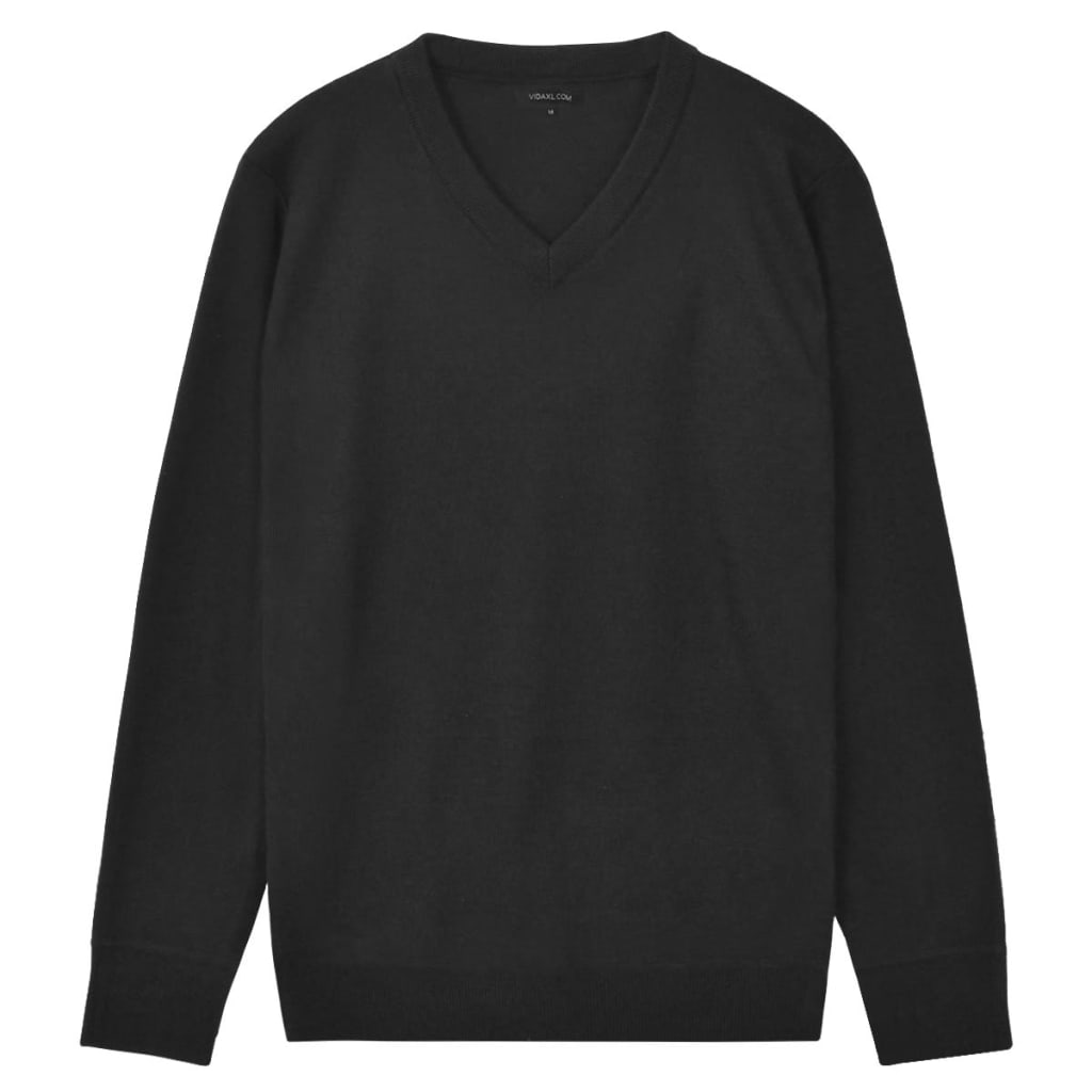 vidaXL Herren Pullover Sweater V-Ausschnitt Schwarz M