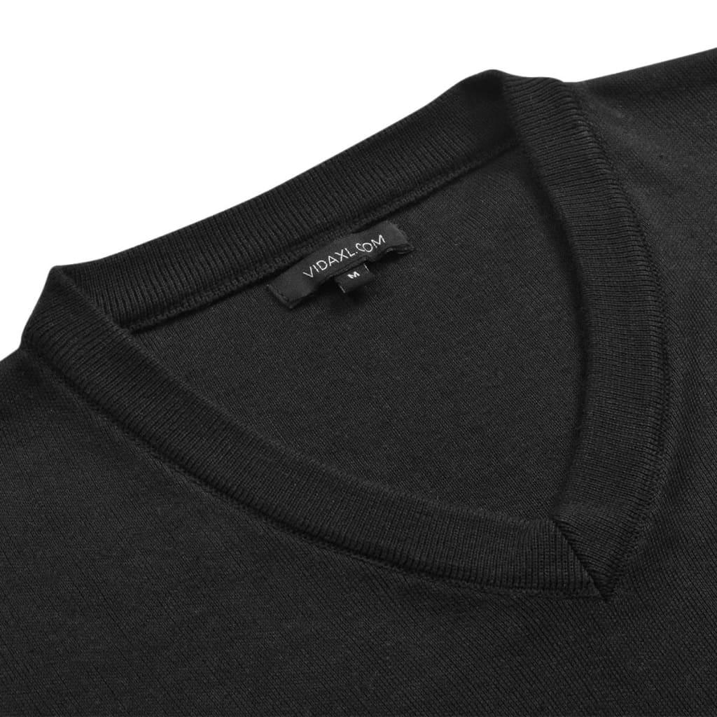 vidaXL Pánský svetr s výstřihem do V černý vel. L
