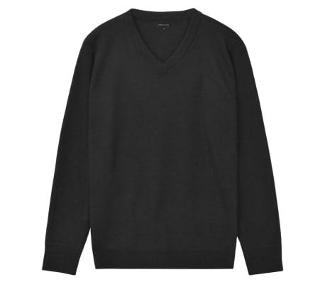 vidaXL Herren Pullover Sweater V Ausschnitt Schwarz XXL