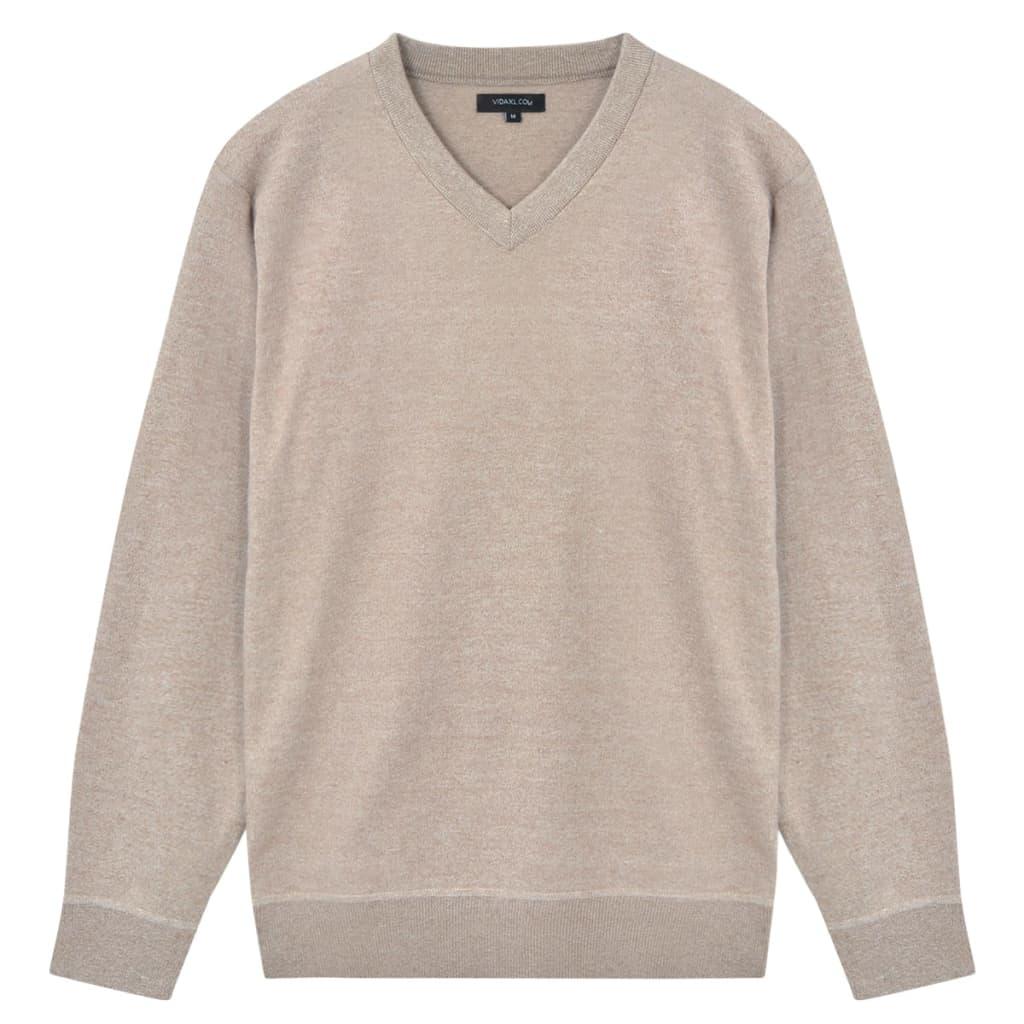 vidaXL Pánský svetr s výstřihem do V béžový vel. XL
