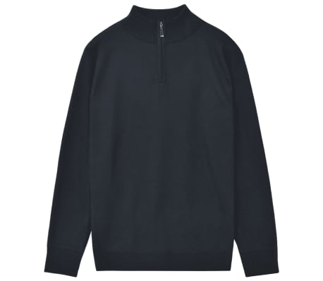 vidaXL Herren Pullover Sweater mit Reißverschluss Marineblau M[1/5]