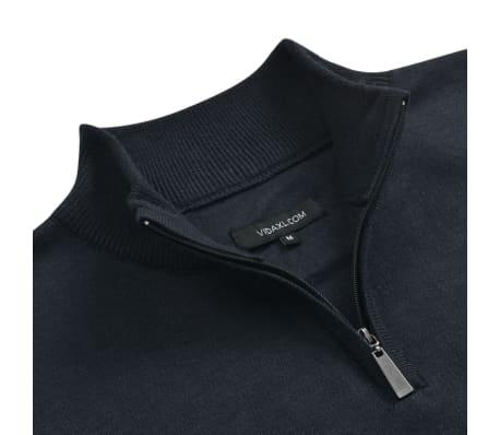 vidaXL Herren Pullover Sweater mit Reißverschluss Marineblau M[2/5]