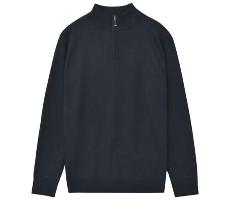vidaXL Men's Zip Pullover Sweater Navy L