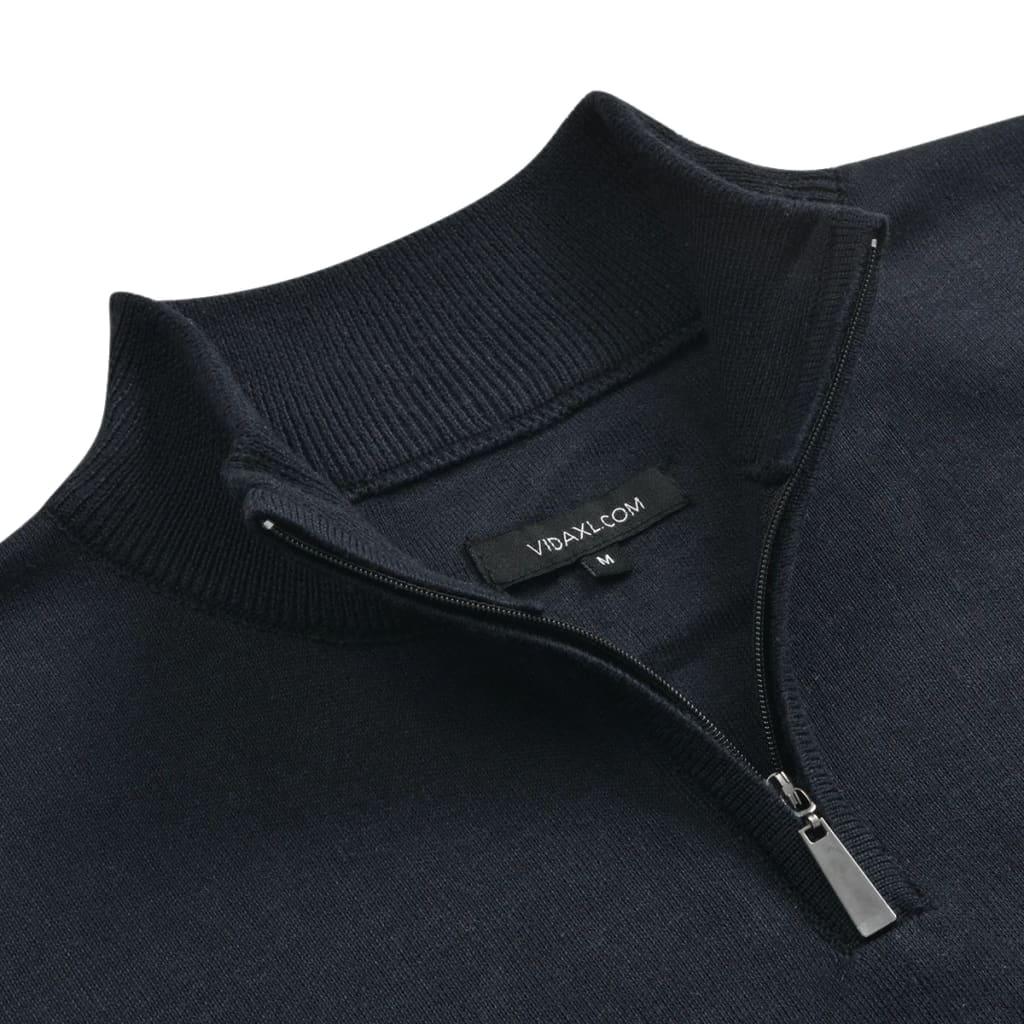 vidaXL Pánský svetr se zipem námořnická modrá vel. L