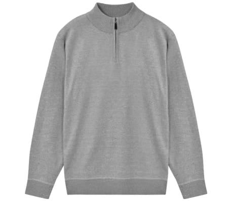 vidaXL Men's Zip Pullover Sweater Grey M