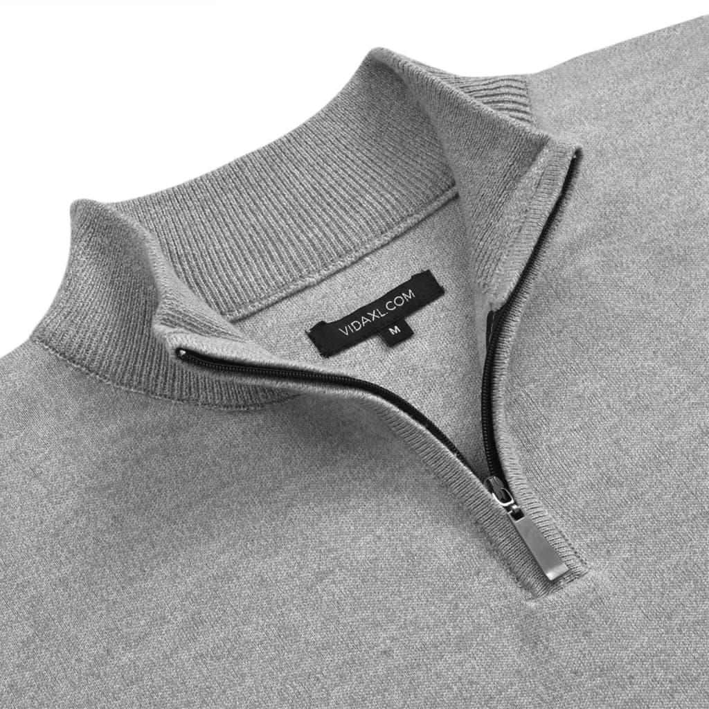 vidaXL Pánský svetr se zipem šedý vel. M